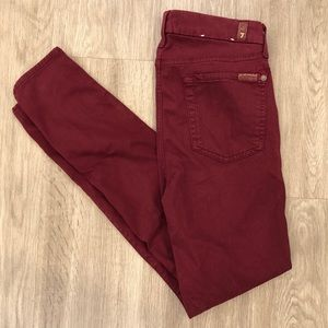 7 For All Mankind Maroonish Skinny Jeans